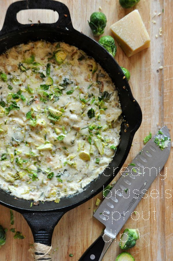 """<strong>Get the <a href=""""https://minimalistbaker.com/creamy-brussels-sprout-shallot-dip/"""" target=""""_blank"""">Creamy Brussels Spr"""