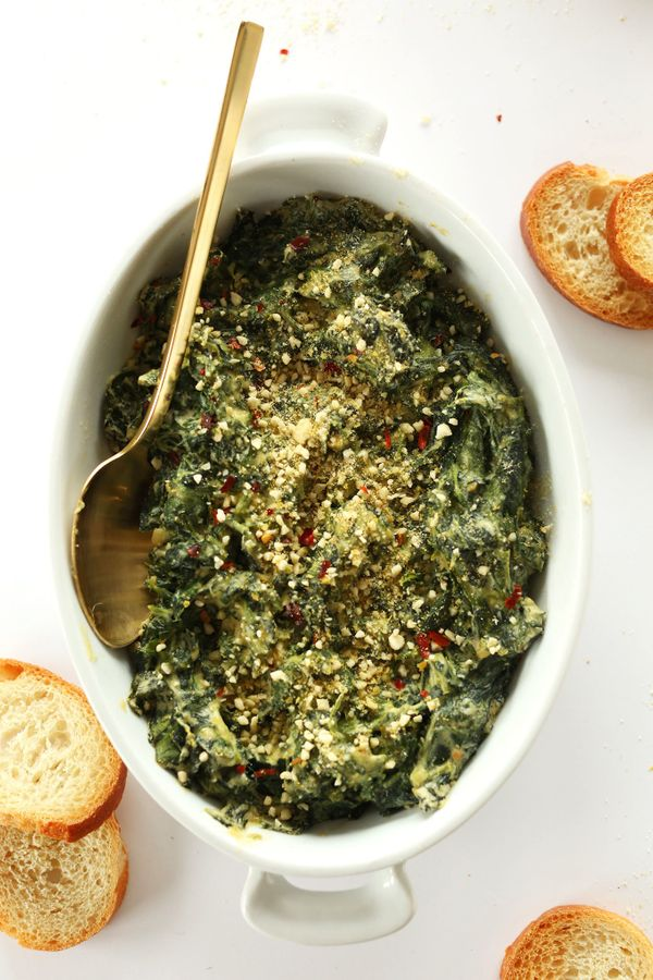 """<strong>Get the <a href=""""https://minimalistbaker.com/creamy-kale-and-spinach-dip/"""" target=""""_blank"""">Creamy Kale And Spinach Di"""