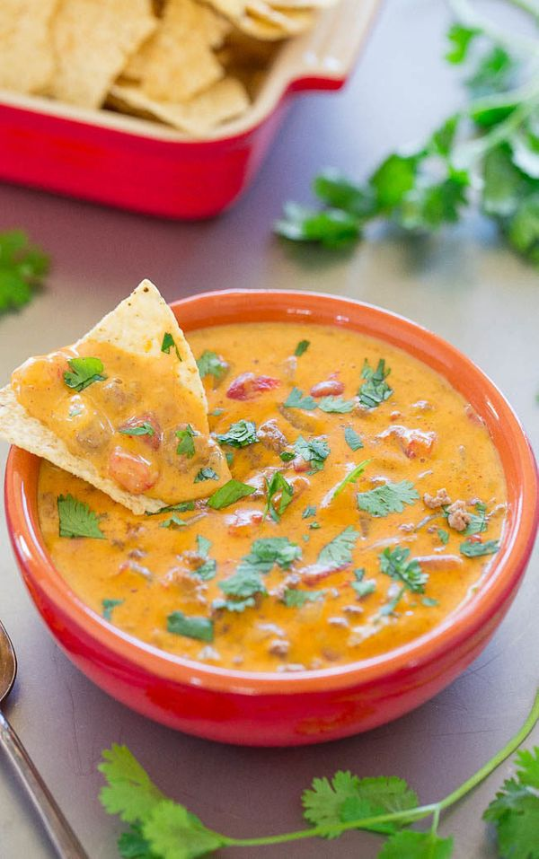 """<strong>Get the<a href=""""https://www.averiecooks.com/2016/09/beef-queso-dip.html"""" target=""""_blank""""> Beef Queso Dip </a>recipe f"""