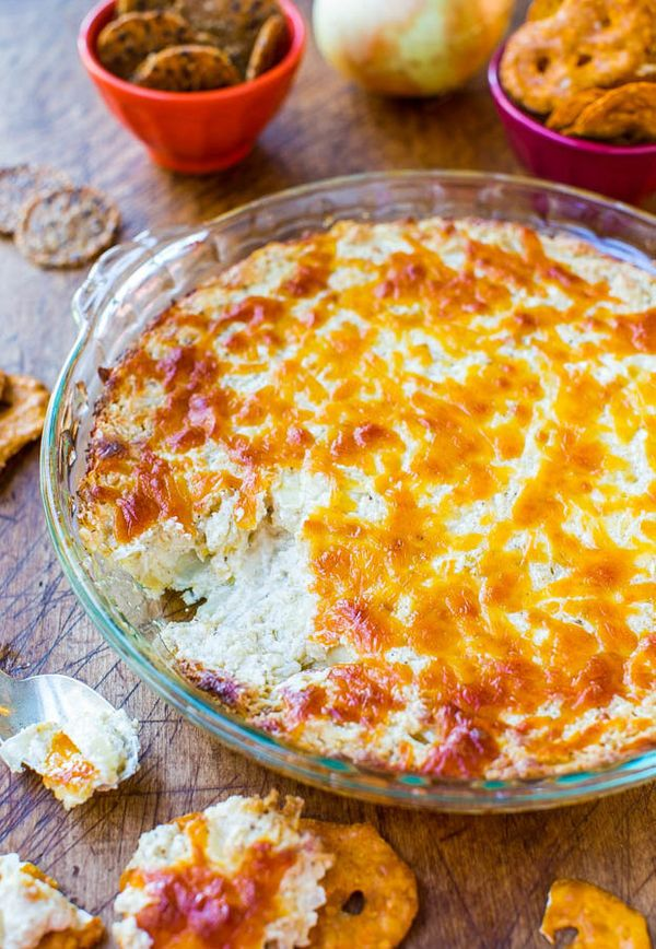 """<strong>Get the <a href=""""https://www.averiecooks.com/2013/11/creamy-baked-double-cheese-and-sweet-onion-dip.html"""" target=""""_bl"""