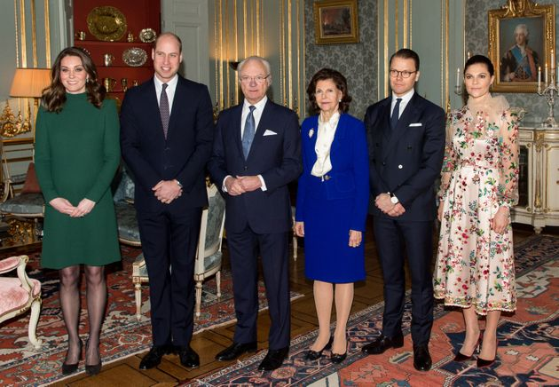 The Duke and Duchess of Cambridge post with King Carl XVI Gustaf of Sweden, Queen Silvia of Sweden, Prince...
