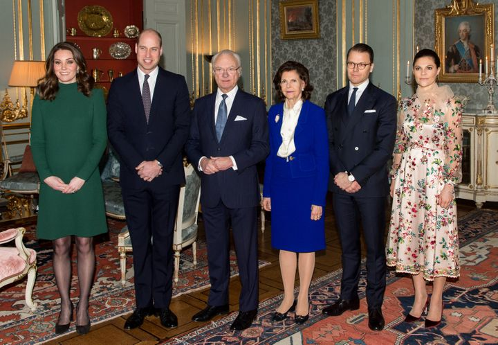 The Duke and Duchess of Cambridge post with King Carl XVI Gustaf of Sweden, Queen Silvia of Sweden, Prince Daniel, Duke of Vastergotland and Crown Princess Victoria of Sweden at the Royal Palace on Jan. 30.
