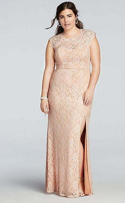 e73182e87f4 Beaded Cap Sleeve Prom Dress with Scalloped Neck. Davids Bridal. Get it  here.