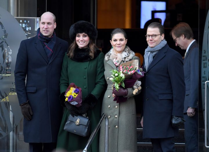The Duke and Duchess of Cambridge, Crown Princess Victoria and Prince Daniel after walking through the streets to visit Stockholm's Nobel Museum.