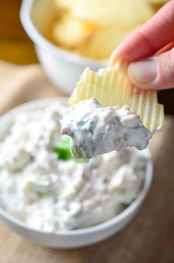 """<strong>Get the <a href=""""https://ohsweetbasil.com/pepper-jack-bacon-ranch-dip-recipe/"""" target=""""_blank"""">Pepper Jack Bacon Ranc"""
