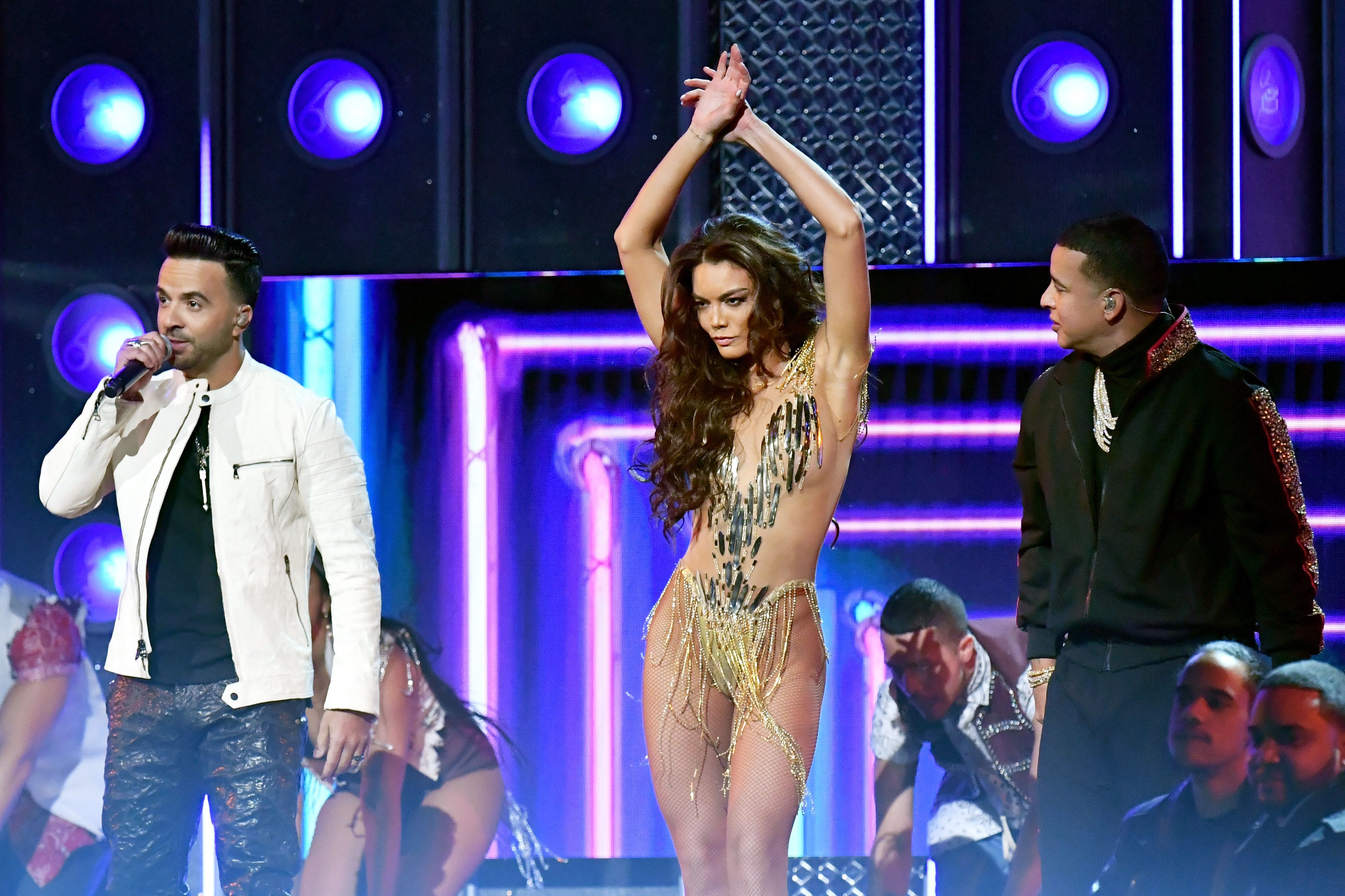 Zuleyka Rivera dances on stage at the 60th annual Grammy Awards.