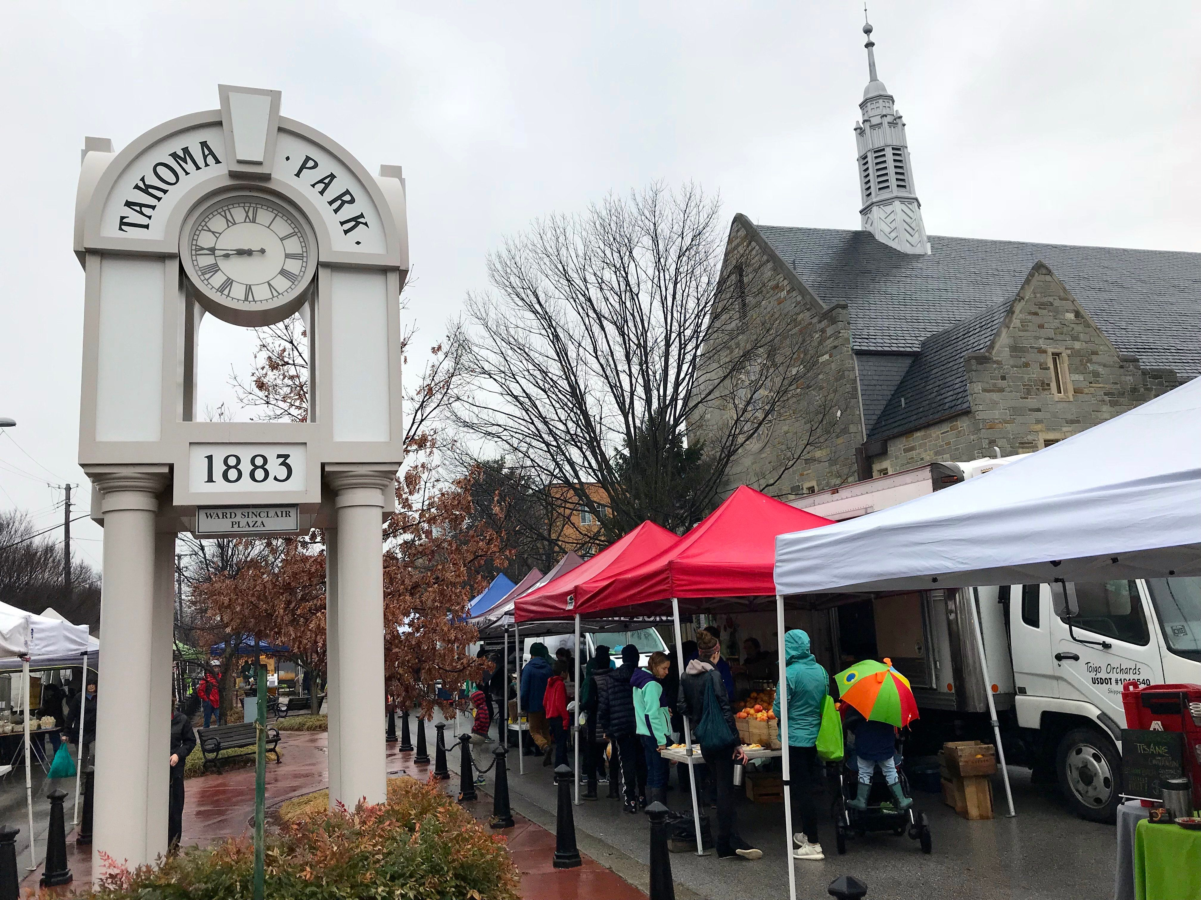 Takoma Park residents check out mushrooms, locally made cheese and 10 varieties of apples at the weekly farmer's market.
