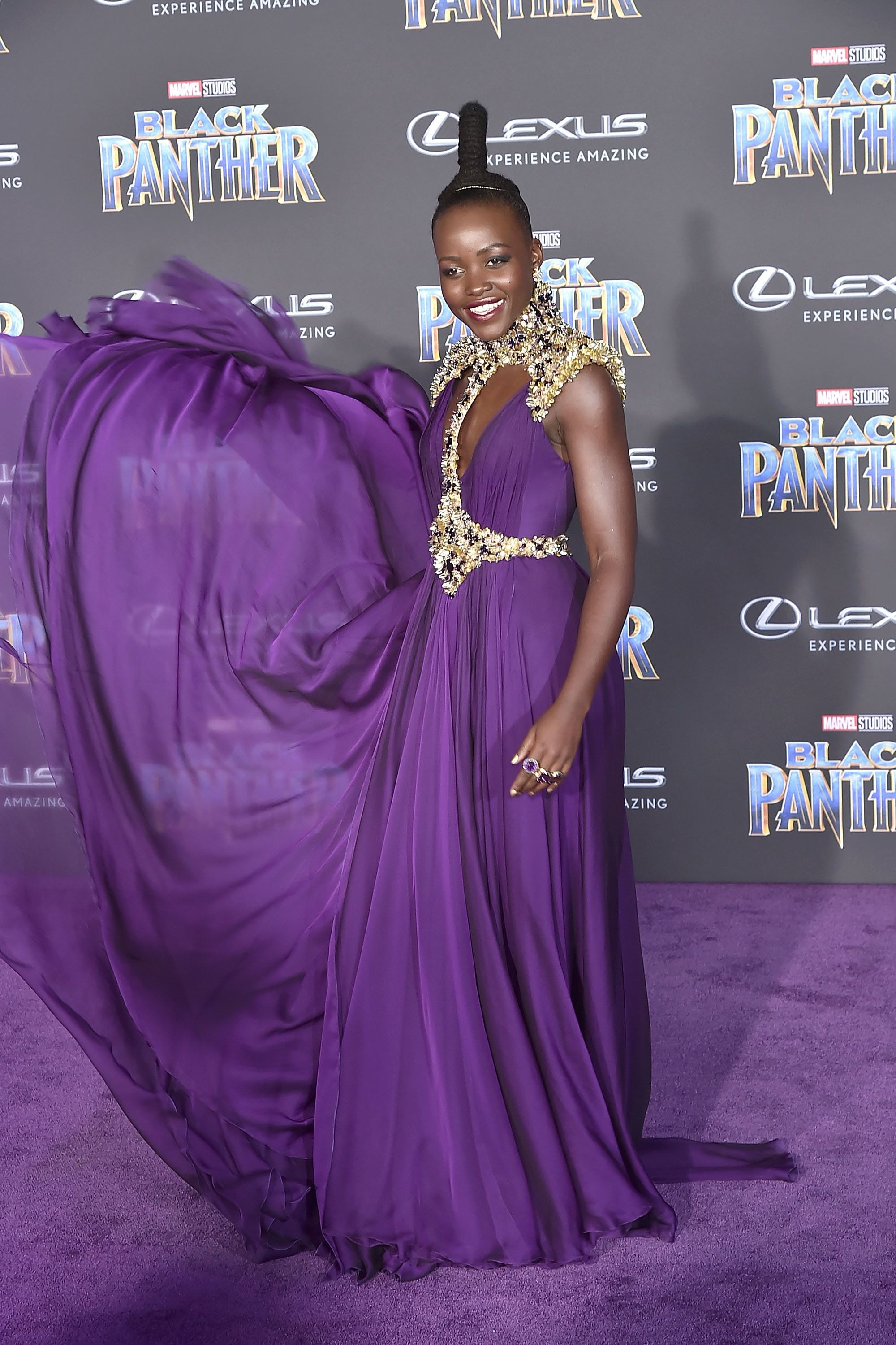 HOLLYWOOD, CA - JANUARY 29:  Lupita Nyong'o attends the Premiere Of Disney And Marvel's 'Black Panther' - Arrivals on January 29, 2018 in Hollywood, California.  (Photo by David Crotty/Patrick McMullan via Getty Images)