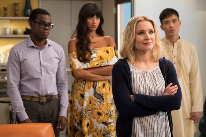 "The humans of NBC's ""The Good Place"": William Jackson Harper as Chidi, Jameela Jamil as Tahani, Kristen Bell as Eleanor Shell"
