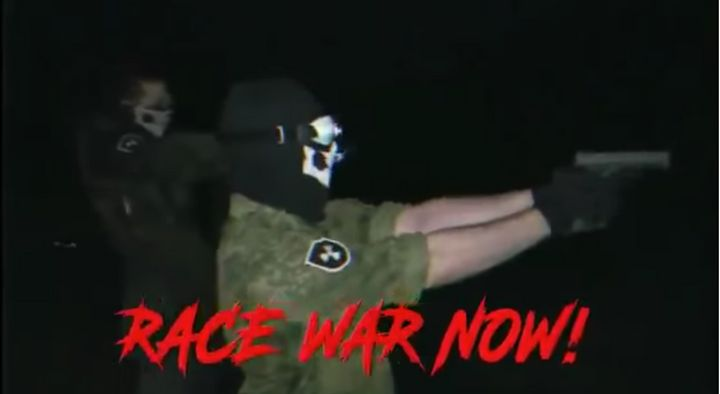 A screenshot from an Atomwaffen propaganda video.