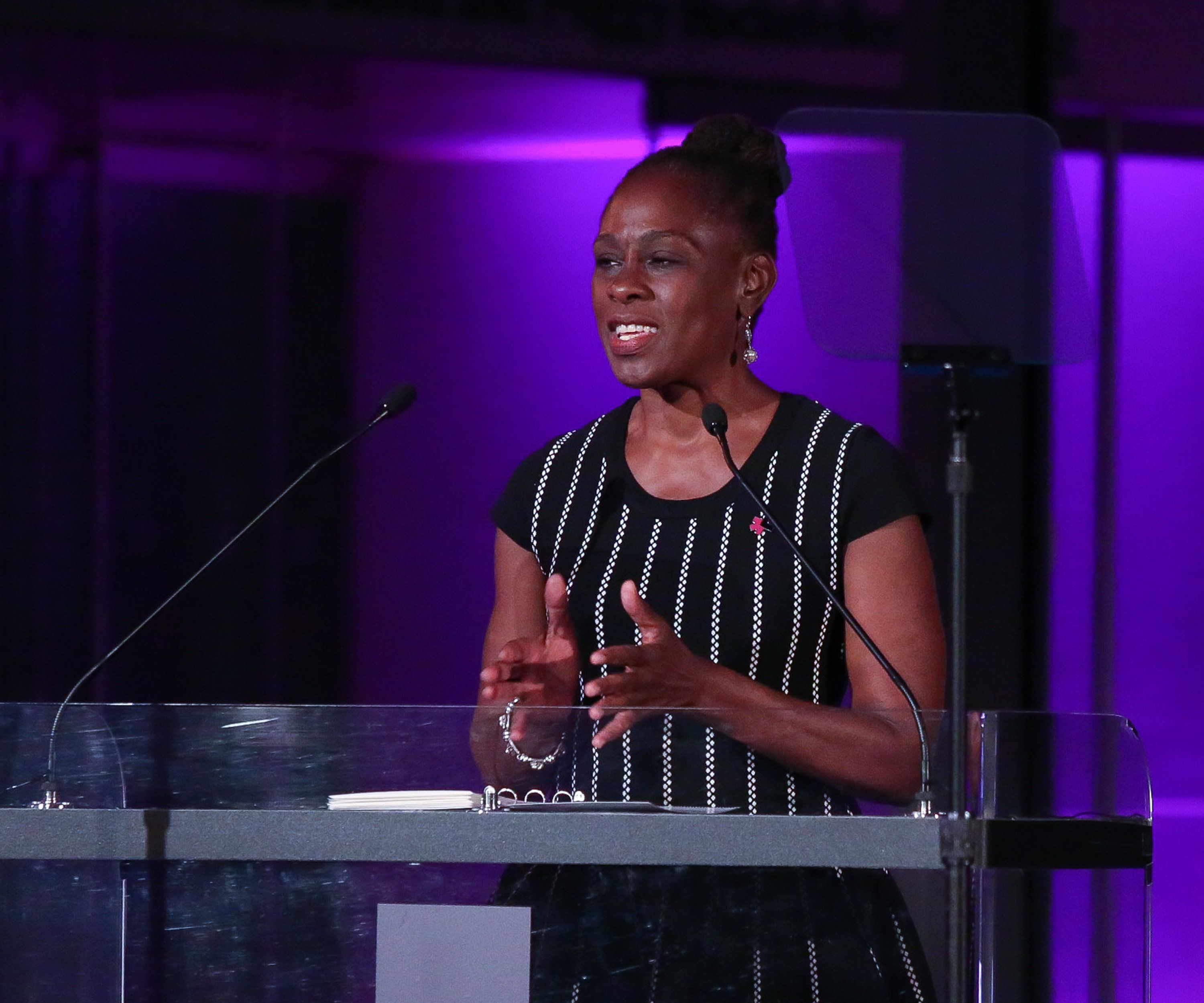 New York City first lady Chirlane McCray, shown here in September, spoke Monday at the local school system's first Gender and