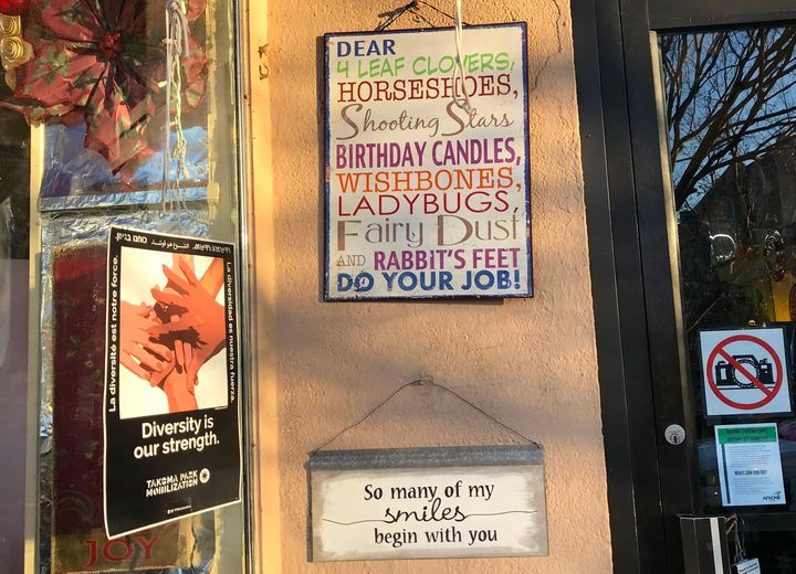 Some of the signsfound in store windows in Takoma Park.