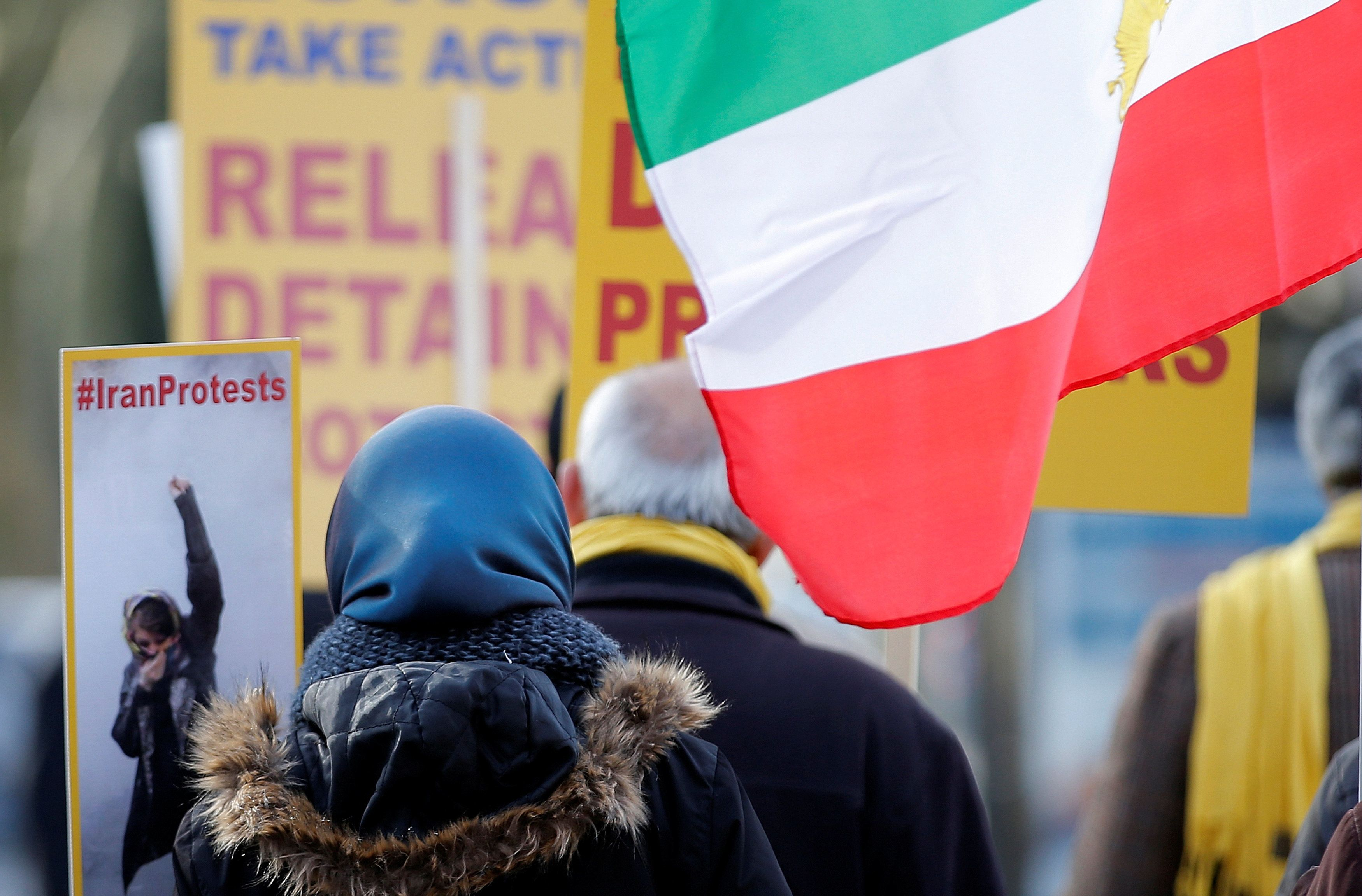 Demonstrators take part in a protest against the situation in Iran in front of the Council of Europe in Strasbourg, France, January 24, 2018. REUTERS/Vincent Kessler