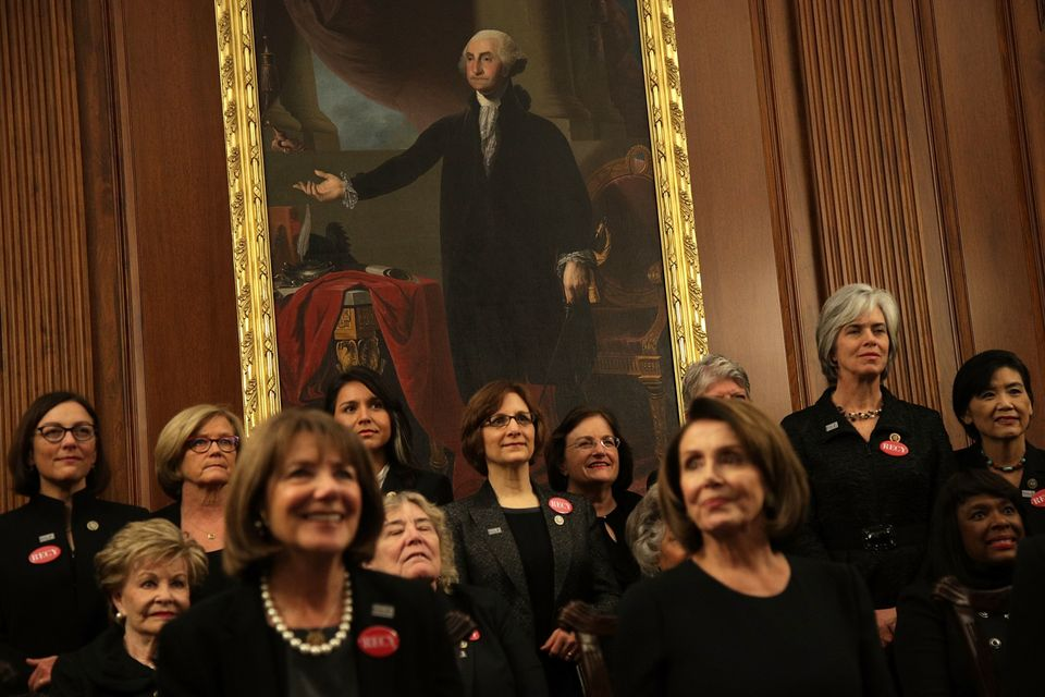 Members of Congress are seen wearing black in the Rayburn Room of the U.S. Capitol in Washington, D.C., ahead of the State of