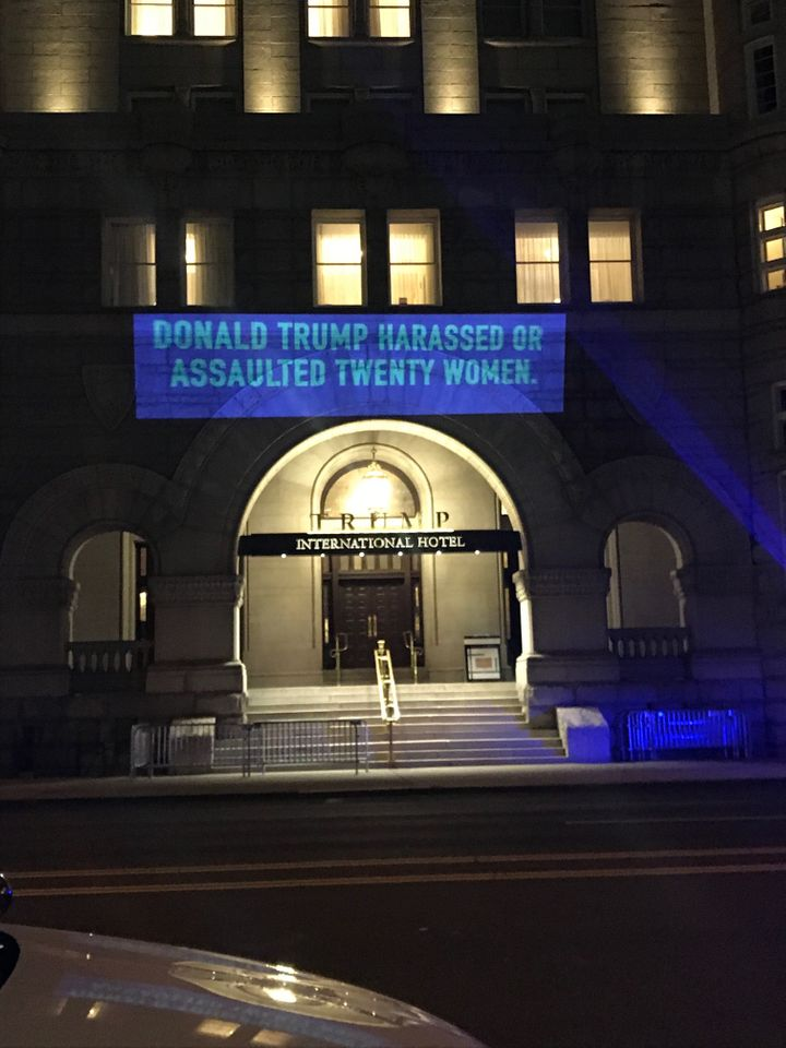 UltraViolet projected this message onto Trump International Hotel in Washington, D.C., on Tuesday.