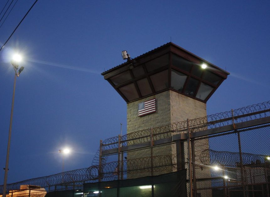 A guard tower at the Guantanamo detention facility