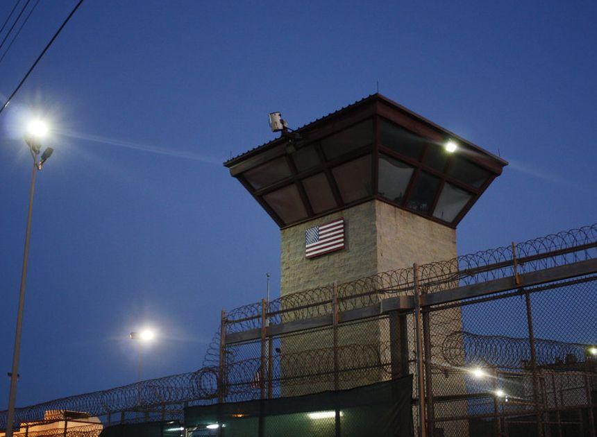 A guard tower at the Guantanamo detention facility