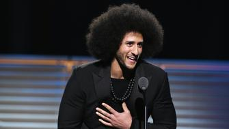 NEW YORK, NY - DECEMBER 05:  Colin Kaepernick receives the SI Muhammad Ali Legacy Award during SPORTS ILLUSTRATED 2017 Sportsperson of the Year Show on December 5, 2017 at Barclays Center in New York City.  Tune in to NBCSN on December 8 at 8 p.m. ET or Univision Deportes Network on December 9 at 8 p.m. ET to watch the one hour SPORTS ILLUSTRATED Sportsperson of the Year special.  (Photo by Slaven Vlasic/Getty Images for Sports Illustrated)