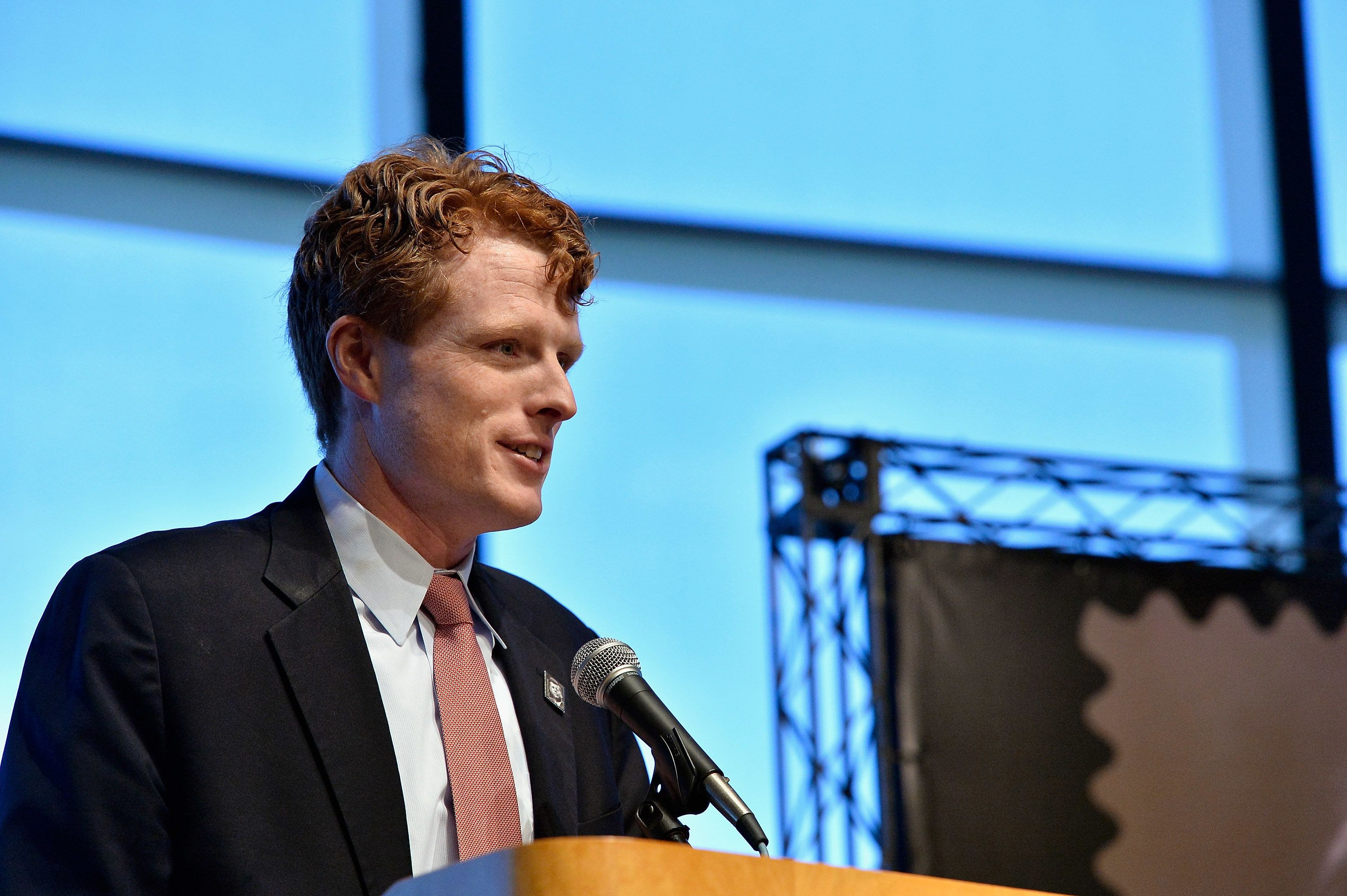 BOSTON, MA - FEBRUARY 20:  Massachusetts Congressman Joseph P. Kennedy, III attends the U.S. Postal Service First Day of Issue Dedication Ceremony of the centennial of President John F. Kennedy's birth dedication of a Forever stamp in his honor at the John F. Kennedy Presidential Library and Museum on February 20, 2017 in Boston, Massachusetts.  The image used on the stsamp was shot in 1960 by photographer Ted Speigel.  (Photo by Paul Marotta/Getty Images)