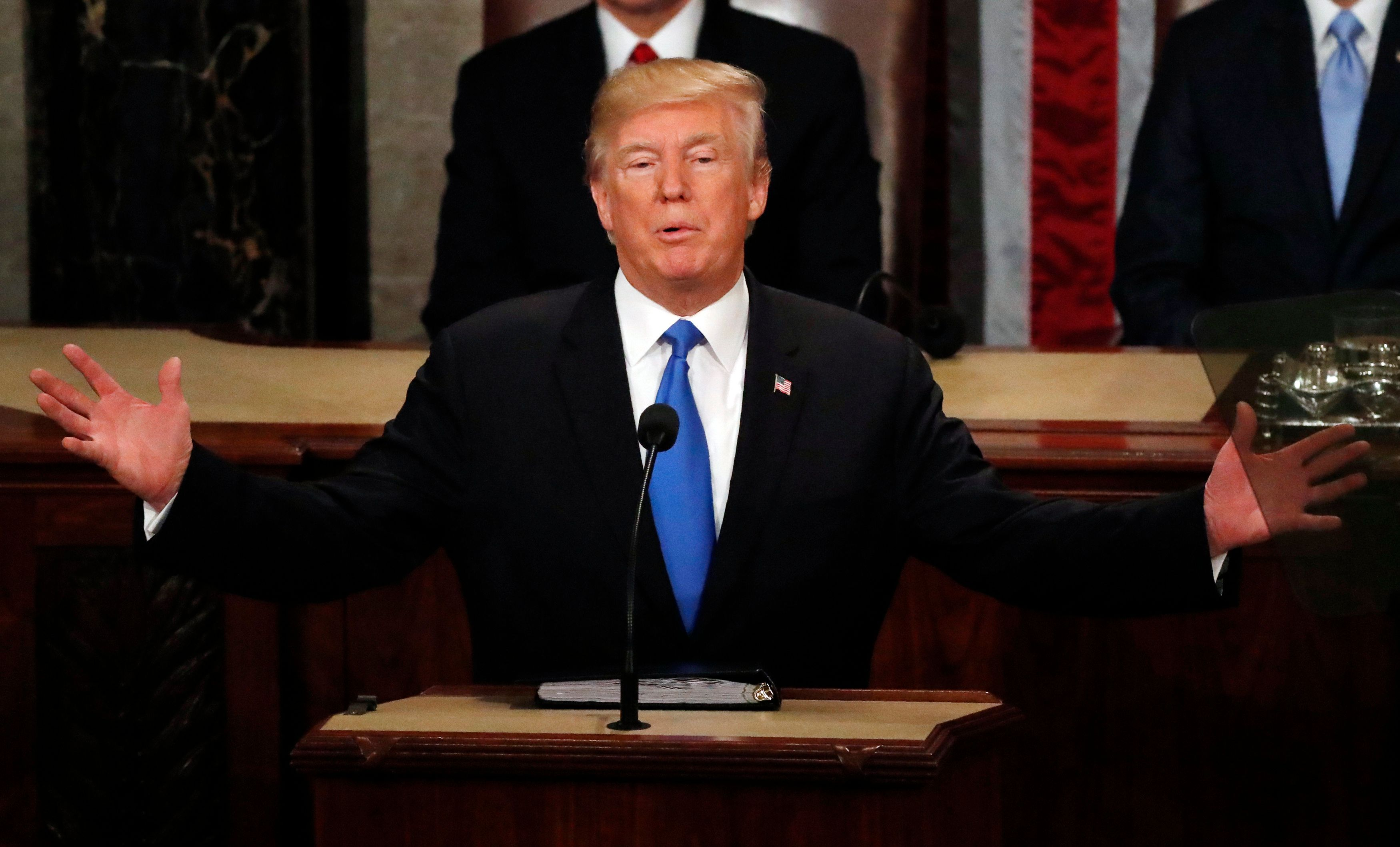 U.S. President Donald Trump delivers his State of the Union address to a joint session of the U.S. Congress on Capitol Hill in Washington, U.S. January 30, 2018. REUTERS/Leah Millis