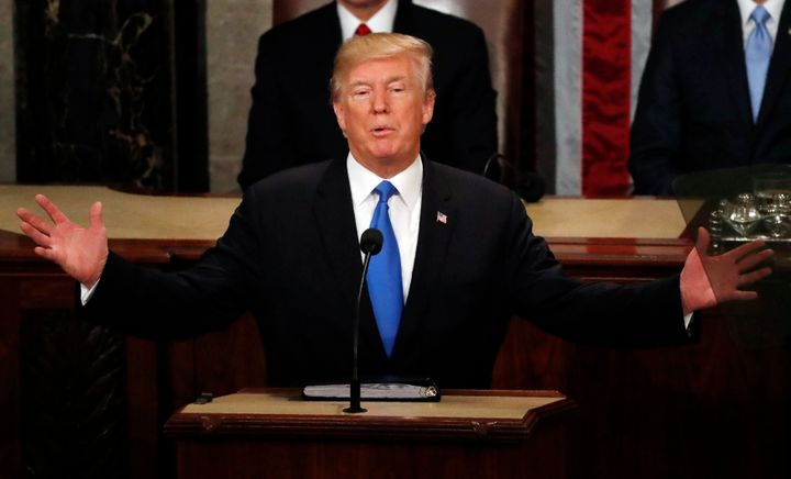 President Donald Trump delivers his State of the Union address to a joint session of Congress on Tuesday.