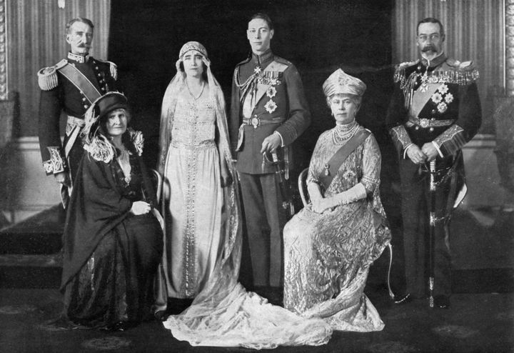 Elizabeth Bowes-Lyon and Prince Albert (centre) on their wedding day, with their parents the Earl and Countess of Strathmore (left) and King George VI and Queen Mary