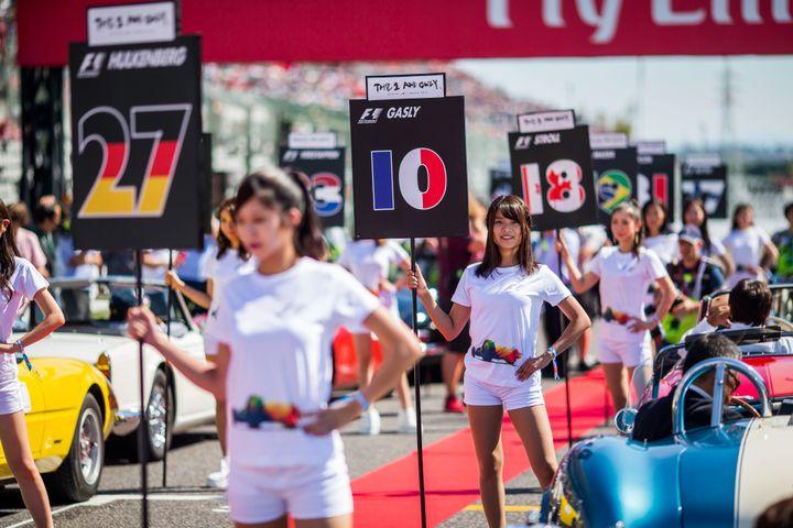 "F1 ""grid girls"" in October 2017."
