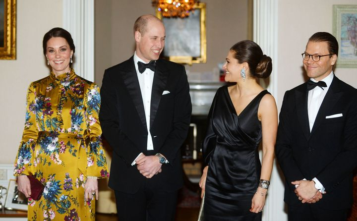 The Duke and Duchess of Cambridge pose with Sweden's Crown Princess Victoria and Prince Daniel on Jan. 30.