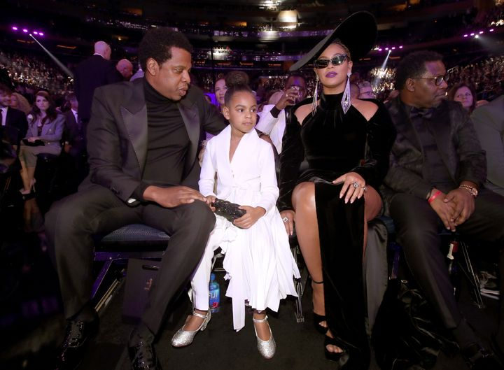 Jay-Z, Blue Ivy and Beyonce hold court at the Grammys.