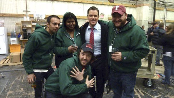 "With Matt Damon and my amazing department on the last day of filming on ""The Adjustment Bureau"""