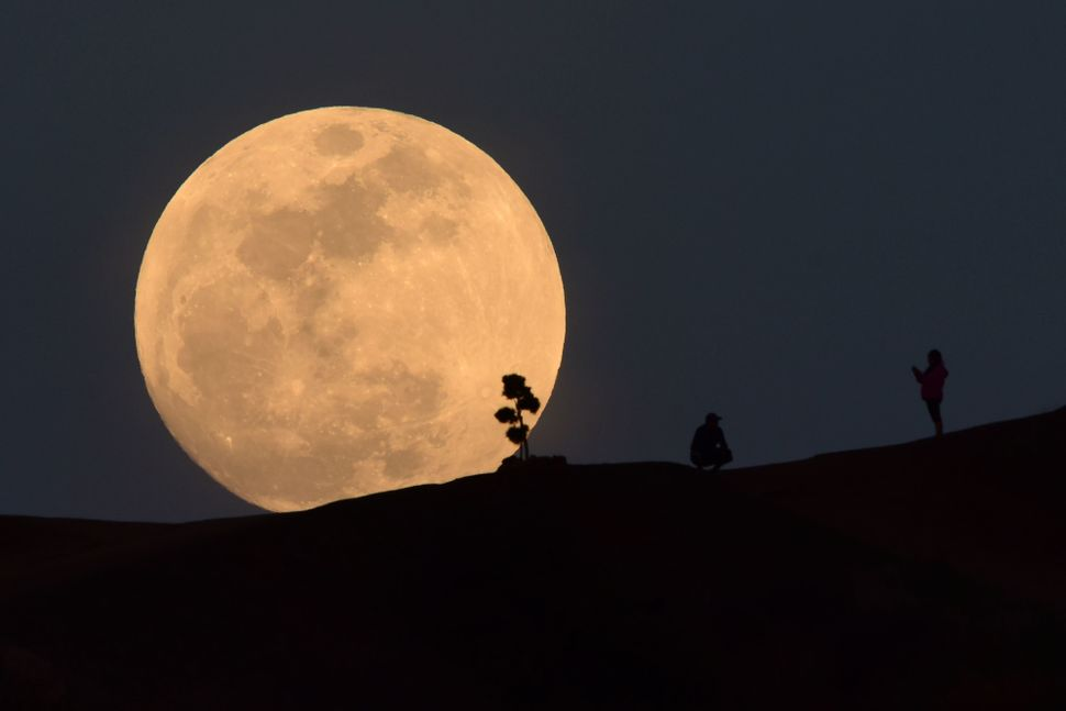 A person poses for a photo as the moon rises over Griffith Park in Los Angeles.