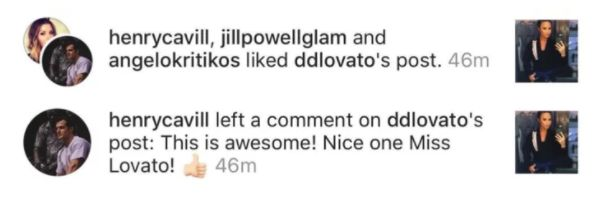 Henry Cavill comments on Demi Lovato's Photo