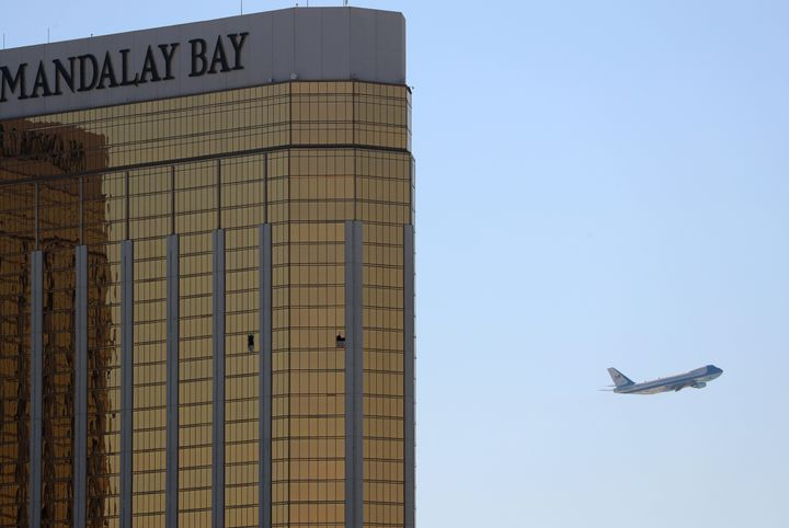 Broken windows are seen from outside the Mandalay Bay Hotel in Las Vegas, where Stephen Paddock carried out the mass shooting