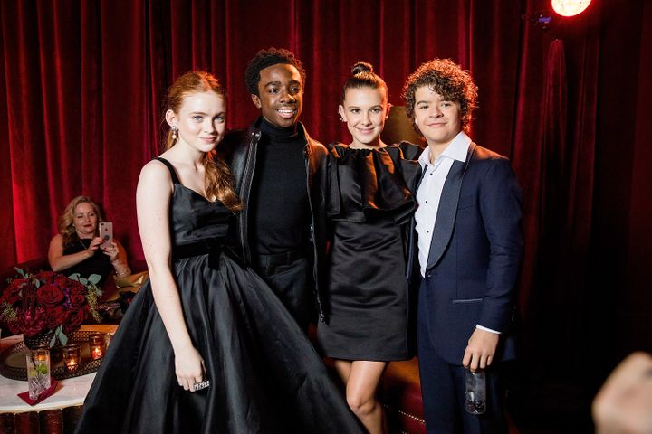 Sadie Sink, Caleb McLaughlin, Millie Bobby Brown and Gaten Matarazzo attend the Netflix Golden Globes after party.