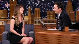 THE TONIGHT SHOW STARRING JIMMY FALLON -- Episode 0812 -- Pictured: (l-r) Actress Dakota Johnson during an interview with host Jimmy Fallon on January 29, 2018 -- (Photo by: Andrew Lipovsky/NBCU Photo Bank via Getty Images)