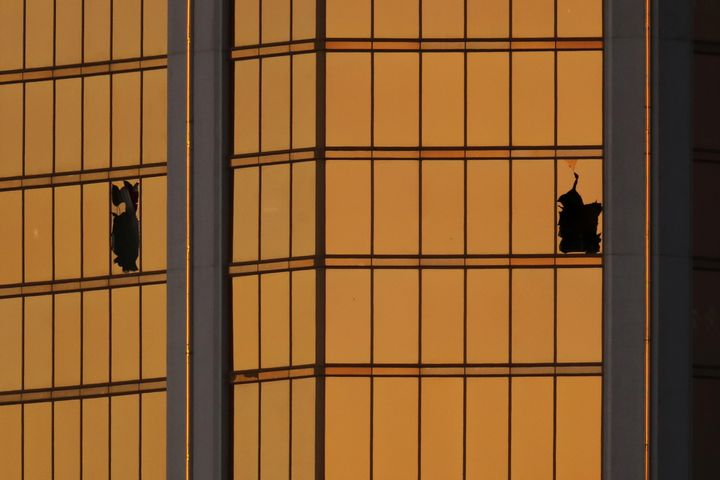 Broken windows are seen on the 32nd floor of the Mandalay Bay hotel in Las Vegas, where Stephen Paddock fired on a crowd