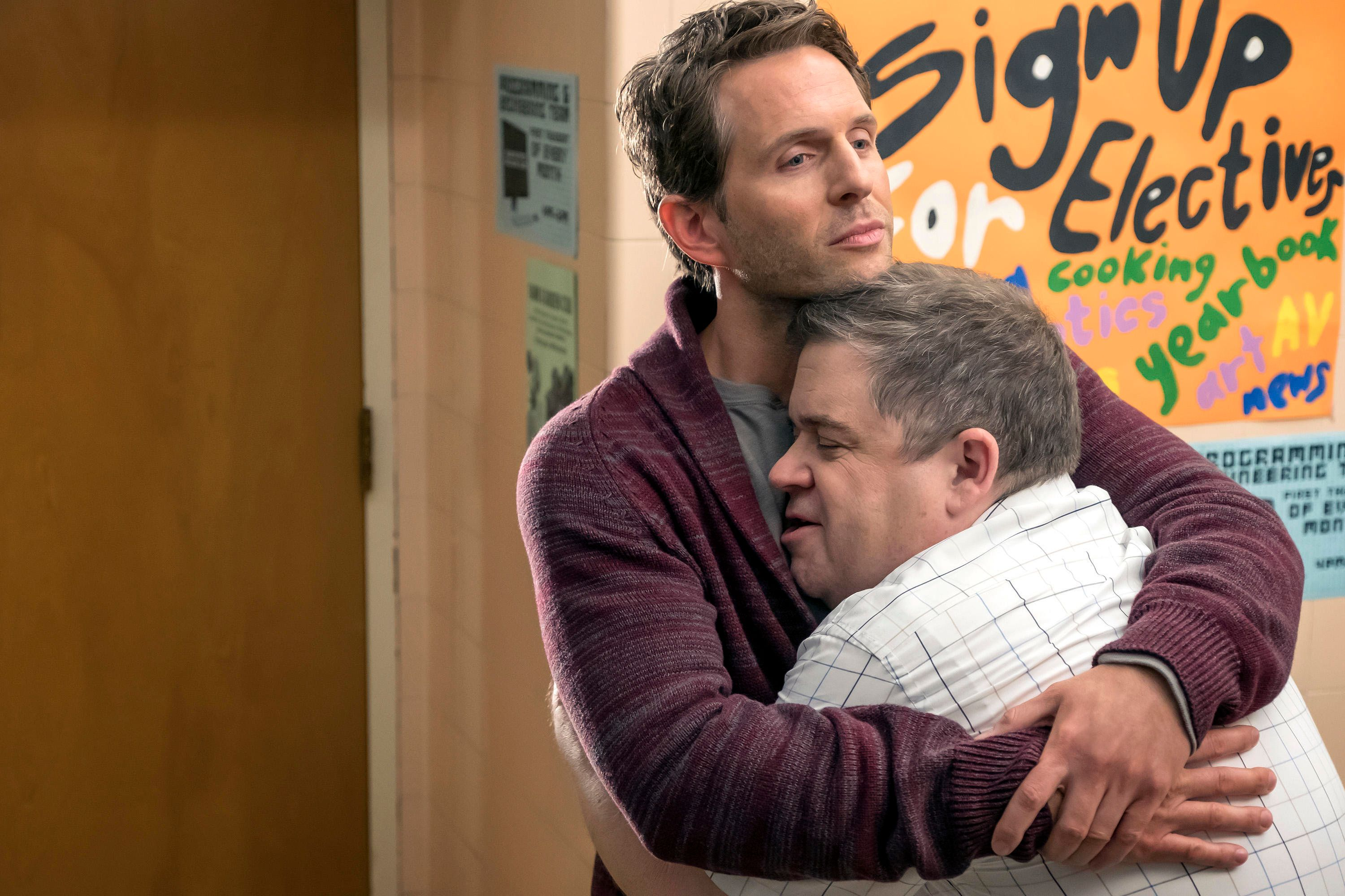 A.P. BIO -- Pilot -- Pictured: (l-r) Glenn Howerton as Jack, Patton Oswalt as Principal Durbin -- (Photo by: Ron Batzdorff/NBC)