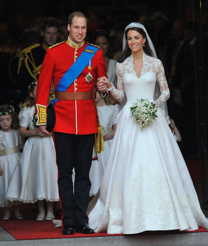 A shot from Prince William and Catherine, Duchess of Cambridge, on their wedding day on April 29, 2011 in London.