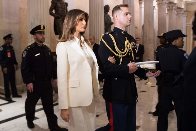 Melania Trumpleaves theCapitol after her husband delivers his State of the Union address...