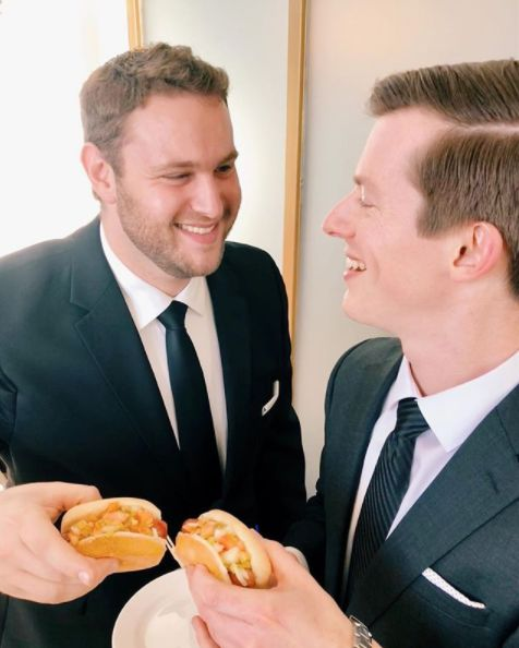 """""""The Dans served Chicago-style mini hot dogs at theirCescapheWater Works wedding."""" --<i>Alisa Tongg Celebra"""