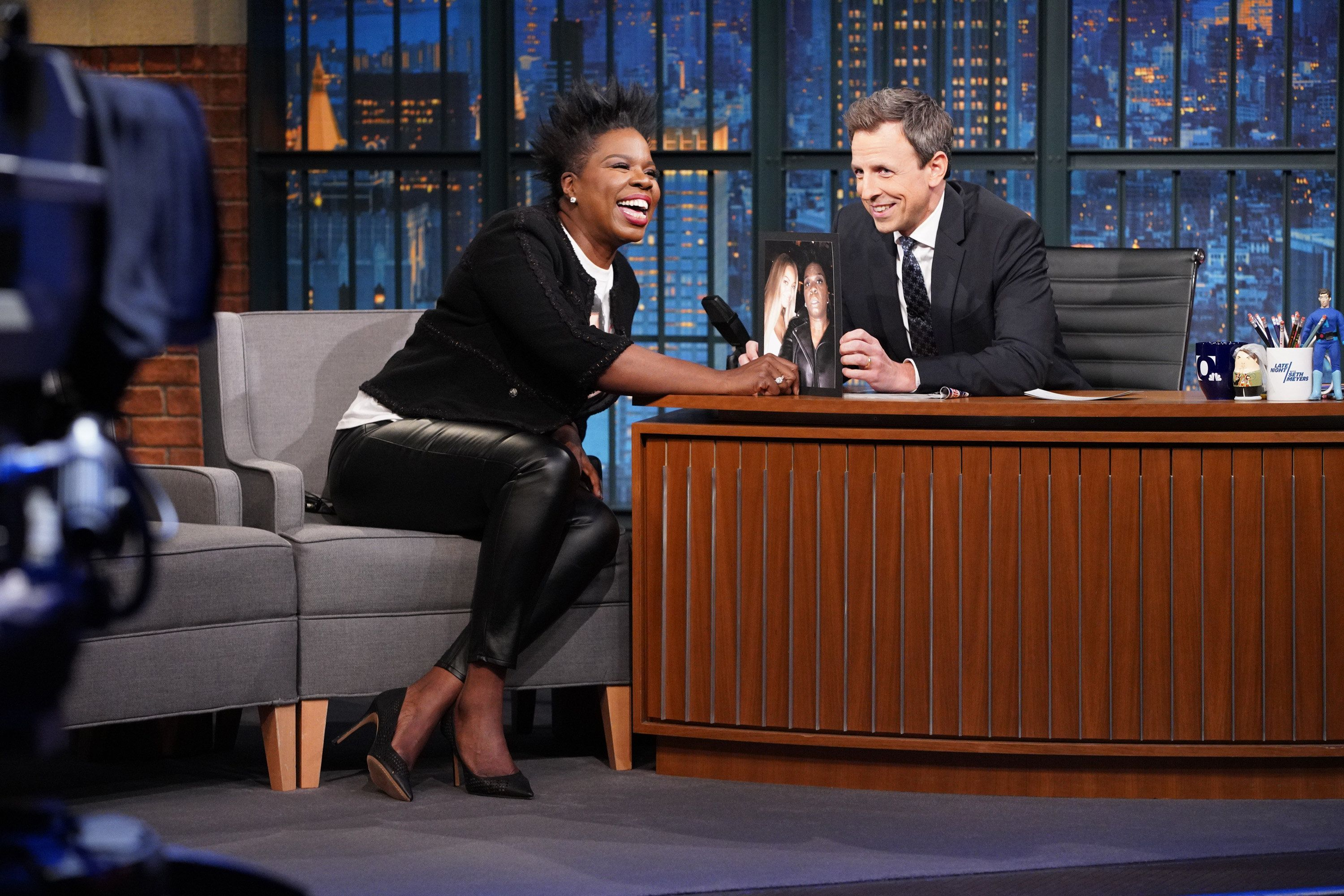 LATE NIGHT WITH SETH MEYERS -- Episode 635 -- Pictured: (l-r) Comedian Leslie Jones during an interview with host Seth Meyers on January 16, 2018 -- (Photo by: Lloyd Bishop/NBC/NBCU Photo Bank via Getty Images)