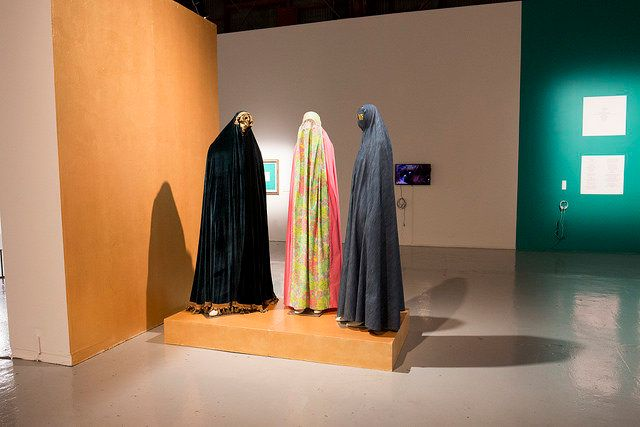 """Alpha, Delta, Burqa,"" by North Carolina artist <a href=""http://www.artbysaba.com/"" target=""_blank"">Saba Taj. </a>"