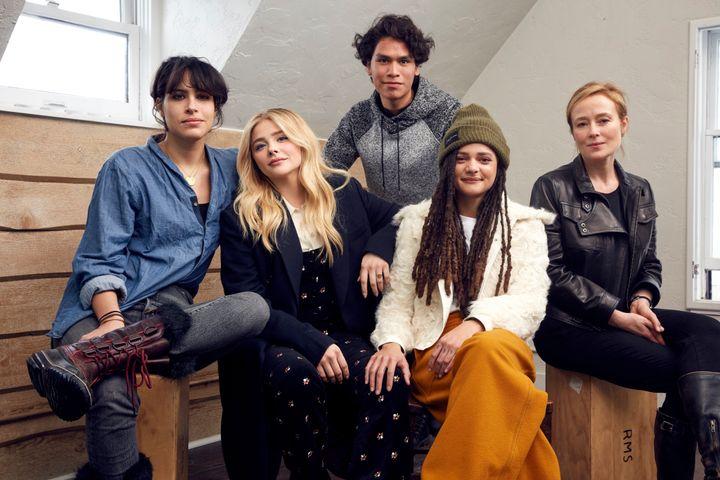 "Director Desiree Akhavan, Chloe Grace Moretz, Forrest Goodluck, Sasha Lane and Jennifer Ehle from the film ""The Miseducation"