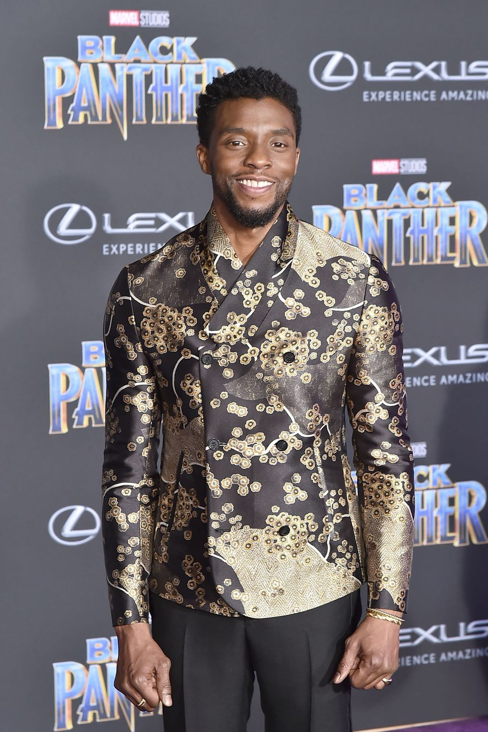 HOLLYWOOD, CA - JANUARY 29:  Chadwick Boseman attends the Premiere Of Disney And Marvel's 'Black Panther' - Arrivals on Janua