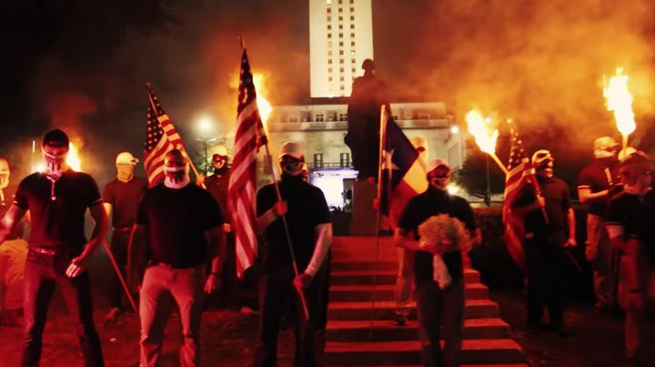 Patriot Front held a torchlit march through the University of Texas campus in Austin in November 2017.