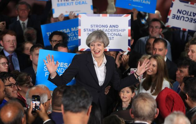 Theresa May campaigns with Tory activists during the 2017 general