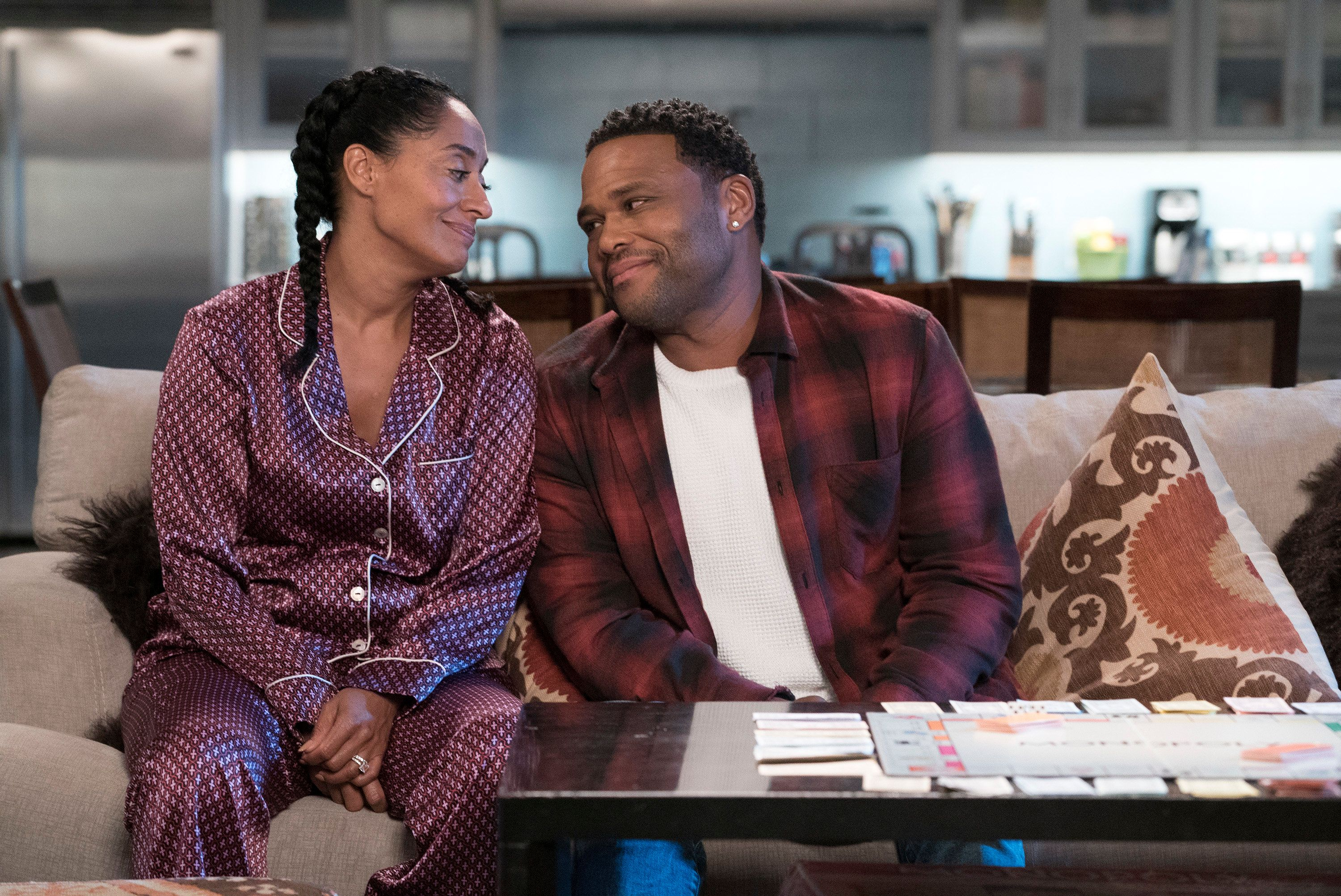 BLACK-ISH - 'Advance to Go (Collect $200)' - Dre brings everyone together for a rowdy family game night and the competition is fierce. The game of choice is Monopoly and as the night progresses, alliances are formed and some are pushed to their limits. Meanwhile, Bow makes it clear how she feels about Junior's girlfriend, Megan, on 'black-ish,' TUESDAY, OCTOBER 24 (9:00-9:30 p.m. EDT), on The ABC Television Network. (Eric McCandless via Getty Images) TRACEE ELLIS ROSS, ANTHONY ANDERSON