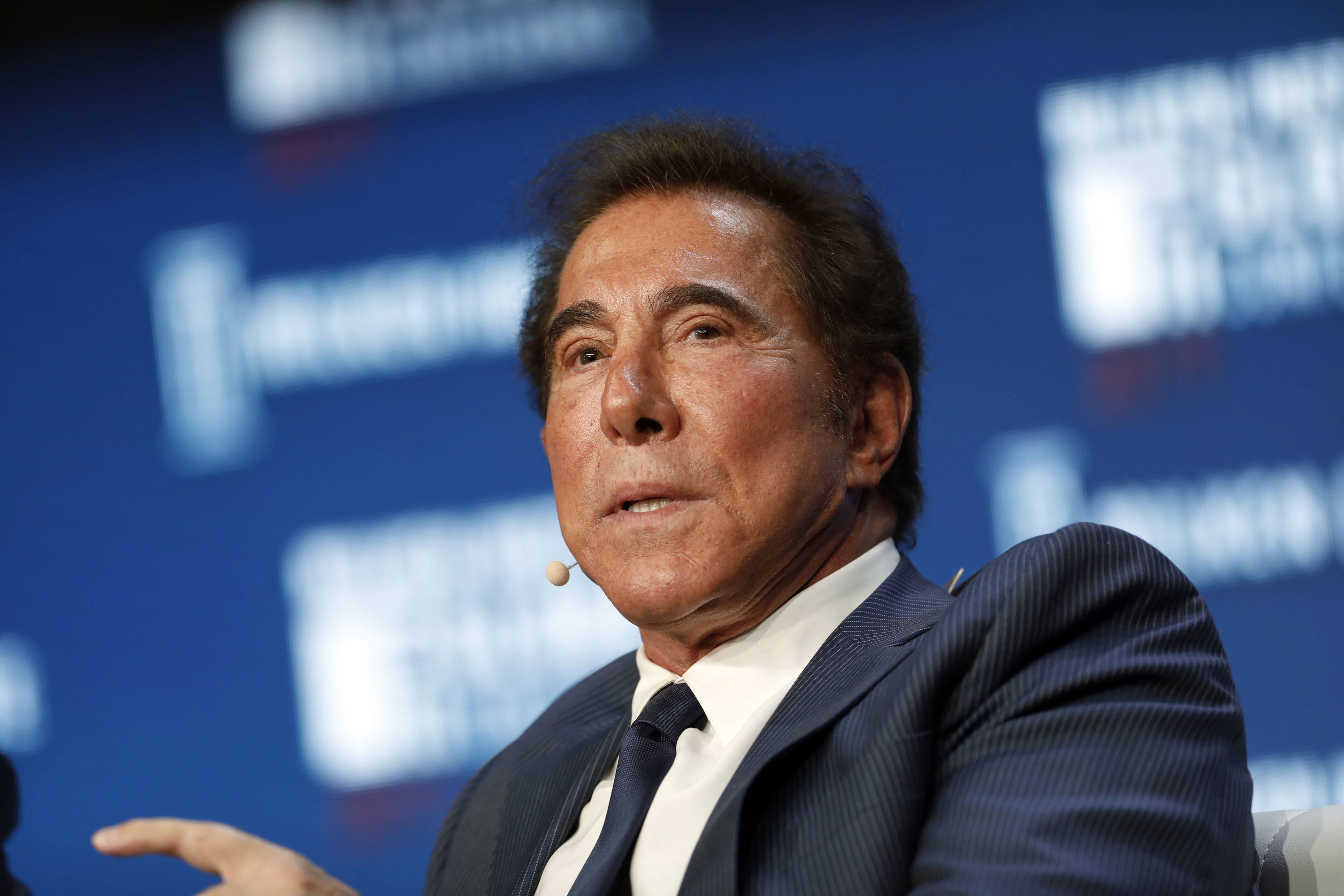 Billionaire Steve Wynn, chairman and chief executive officer of Wynn Resorts Ltd., speaks during the Milken Institute Global Conference in Beverly Hills, California, U.S., on Wednesday, May 3, 2017. The conference is a unique setting that convenes individuals with the capital, power and influence to move the world forward meet face-to-face with those whose expertise and creativity are reinventing industry, philanthropy and media. Photographer: Patrick T. Fallon/Bloomberg via Getty Images