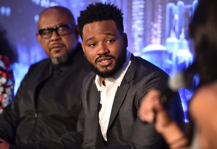 "Director Ryan Coogler talks about ""Black Panther"" in Beverly Hills on Tuesday."