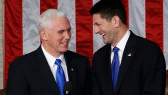 U.S. President Trump addresses Joint Session of Congress - Washington, U.S. - 28/02/17 - U.S. Vice President Mike Pence (L) laughs with Speaker of the House Paul Ryan. REUTERS/Jonathan Ernst